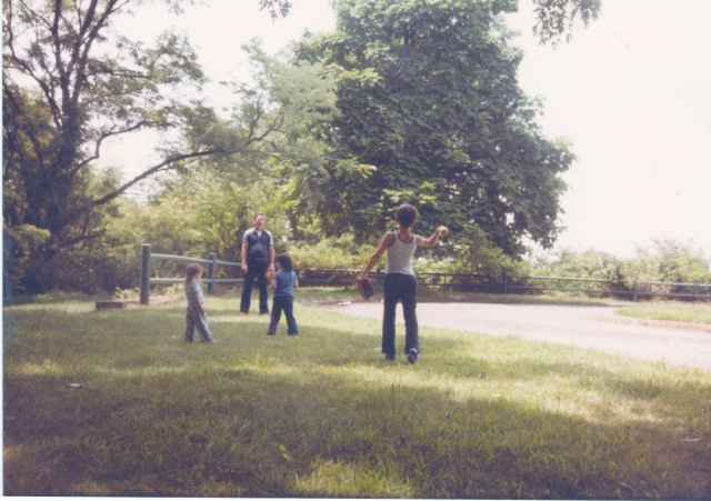 Alan & Dad Playing Baseball